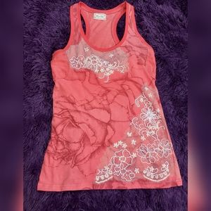 Miss Me Beaded Coral Pink Flower Tank Top Sz S